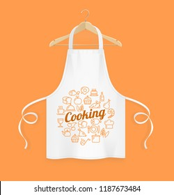 Realistic Detailed 3d White Kitchen Apron with Wooden Clothes Hanger and Thin Line Icon Set. Vector illustration
