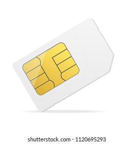 Realistic Detailed 3d White Mockup Template Blank Sim Card and Chip Wireless Equipment for Phone Mobile. Vector illustration