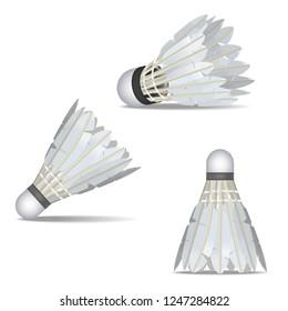 Realistic Detailed 3d White Shuttlecocks for Badminton Set Equipment for Sport Competition, Leisure or Activity Hobby . Vector illustration of Shuttlecock