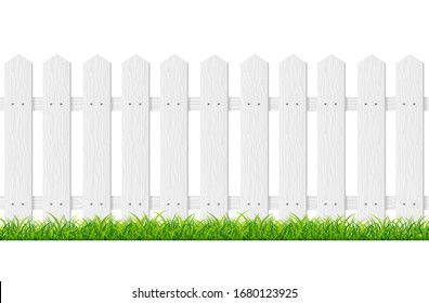 Realistic Detailed 3d White Wood Fence with Green Grass. Vector illustration of Horizontal Border for Security