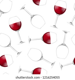 Realistic Detailed 3d Wine Glass Seamless Pattern Background on a White Empty and Full Wineglass. Vector illustration of Wineglasses