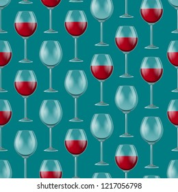 Realistic Detailed 3d Wine Glass Seamless Pattern Background Empty and Full Wineglass. Vector illustration of Wineglasses