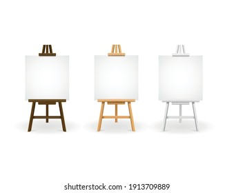 Realistic Detailed 3d Wooden Easel Set with Empty Blank Canvas on a White. Vector illustration of Easels
