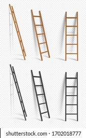 Realistic Detailed 3d Wooden Stairs. Vector illustration