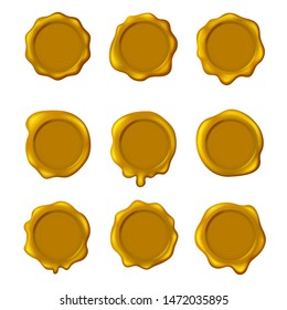 Realistic Detailed 3d Yellow Old Seal Wax Stamps Set Different Types Symbol of Quality, Warranty and Security. Vector illustration