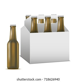 Realistic Detailed Beer Sixpack Alcoholic Drink Brown Glass Beer Bottle Liquid Refreshment Beverage. Vector illustration