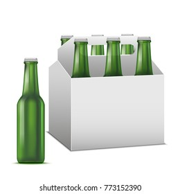 Realistic Detailed Beer Sixpack Alcoholic Drink Green Glass Beer Bottle Liquid Refreshment Beverage. Vector illustration