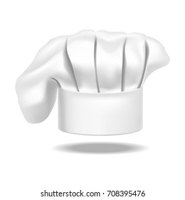 Realistic Detailed Chef White Hat on a Background Web Design Style Element Uniform for Kitchen Restaurant. Vector illustration of Cap