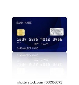 Realistic detailed credit card with abstract blue design isolated on white background. Vector illustration EPS10