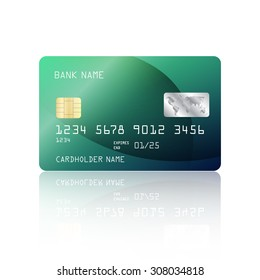 Realistic detailed credit card with abstract geometric green design isolated on white background. Vector illustration EPS10