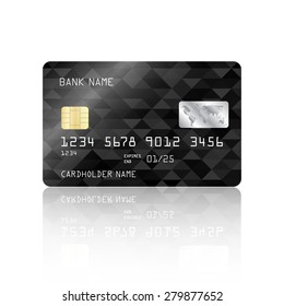 Realistic detailed credit card with black geometric triangular design isolated on white background. Vector illustration EPS10
