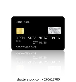 Realistic detailed credit card with black design isolated on white background. Vector illustration EPS10