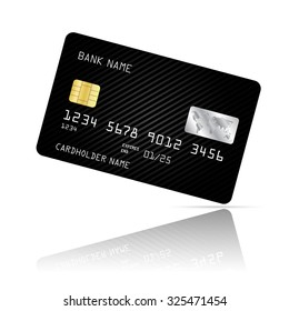 Realistic detailed credit card with black abstract design isolated on white background. Vector illustration EPS10