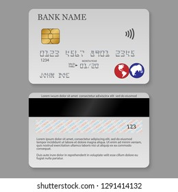 Realistic detailed credit card. Front and back side template.