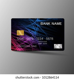 Realistic detailed credit card. With inspiration from the abstract on the gray background. Glossy plastic style. Vector illustration design EPS10