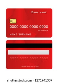 Realistic detailed credit card set with colorful red abstract design background. Front and back side template. Vector illustration.