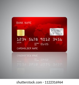 Realistic detailed credit card with the world map on red background. Vector illustration design EPS10