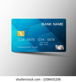 Realistic detailed credit cards. With inspiration from the abstract blue and black color on the gray background. Glossy plastic style. Vector illustration design EPS10