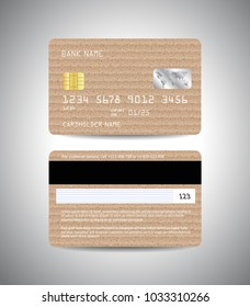 Realistic detailed credit cards set with cardboard paper background design. Front and back side template. Money, payment symbol. Vector illustration EPS10