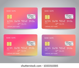 Realistic detailed credit cards set with colorful abstract trendy color gradinet design background. Pink, purple, rose gold colors. Vector illustration EPS10