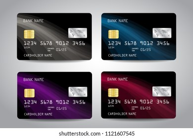 Realistic detailed credit cards set with black design background with white, blue, purple, red abstract waves. Vector template EPS10