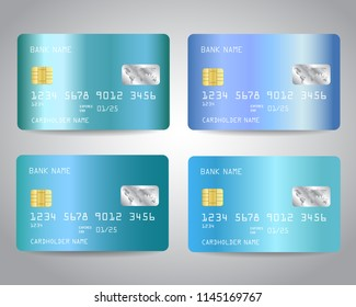 Realistic detailed credit cards set with blue gold metallic gradient design background. Blue colors. Vector illustration EPS10