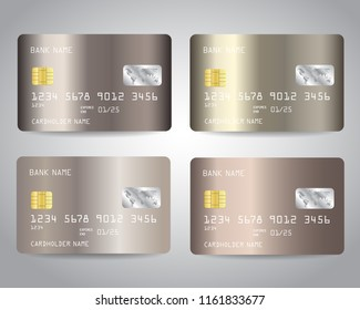 Realistic Detailed Credit Cards Set With Bronze Gold Abstract Metallic Foil Gradinet Design Background