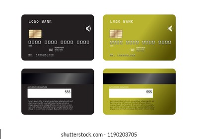 Realistic detailed credit cards set with colorful abstract design background. Credit debit card mockup