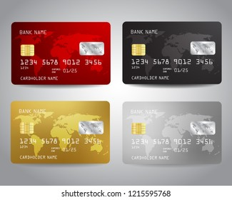Realistic detailed credit cards set with colorful abstract design background with world map. Golden credit card. Silver credit card. Black, red colors Vector illustration design EPS10