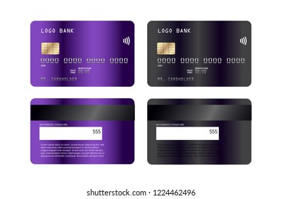 Realistic detailed credit cards set with colorful abstract design background. Credit debit card mock-up