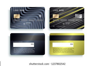 Realistic detailed credit cards set with colorful abstract design background. Credit debit card mockup Money, payment symbol