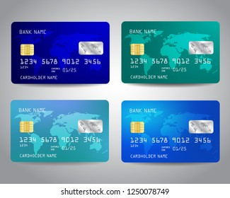 Realistic detailed credit cards set with colorful abstract design background with world map. Blue colors Vector illustration design EPS10