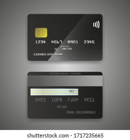 Realistic detailed credit cards set black card. Front and back side template. Money, payment symbol. Vector illustration