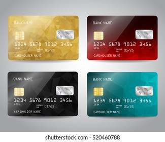 Realistic detailed credit cards set with colorful gold, red, black, blue triangular design background. Vector illustration EPS10