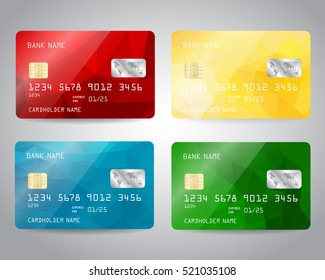 Realistic detailed credit cards set with colorful abstract colorful design background. Red, yellow, blue, green colors. Vector illustration EPS10