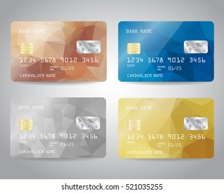 Realistic detailed credit cards set with colorful abstract triangular design background. Vector illustration EPS10