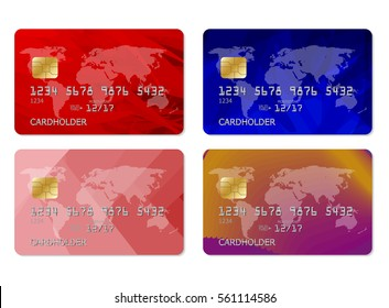 Realistic detailed credit cards set with abstract colorful design background. Vector illustration of detailed credit card isolated on white background. Vector credit cards