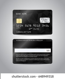 Realistic detailed credit cards set with colorful black abstract triangular design background. Black card. Front and back side template. Money, payment symbol. Vector illustration EPS10