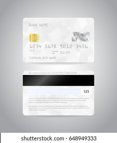 Realistic detailed credit cards set with colorful white abstract triangular design background. Front and back side template. Money, payment symbol. Vector illustration EPS10