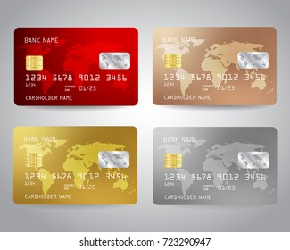 Realistic detailed credit cards set with colorful abstract design background with world map. Red, bronze, gold, silver credit cards. Golden credit card. Silver credit card. Vector illustration EPS10