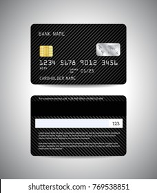 Realistic detailed credit cards set with black striped abstrct background design. Front and back side template. Money, payment symbol. Vector illustration EPS10