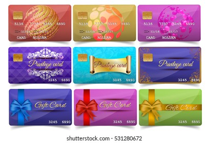 Realistic detailed credit and privilege cards set with colorful abstract design background and gift cards - luxury wide gift bow with red, blue and gold ribbon.Vector illustration on white background
