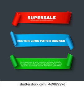 Realistic detailed curved paper ribbon banners isolated on dark background. Vector illustration, Set paper ribbons for web advertising, promo, sale