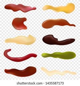 Realistic detailed different sauces isolated on transparent background. Collection with ketchup, wasabi, mustard, mayonnaise, bbq, pesto and cheese. Top view liquid sauce concept. Vector illustration