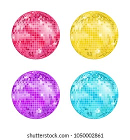 Realistic Detailed Disco Ball Night Club or Party Set Light Element Mirrorball for Decorating. Vector illustration of Discoball