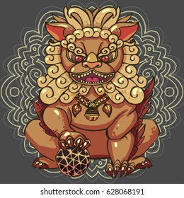 Realistic detailed hand drawn illustration of stylized Chinese foo dog guardian statue. Protection symbol. Colorful graphic image. T-shirt print.