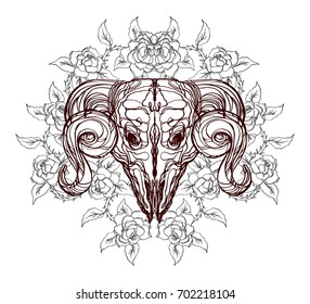 Realistic detailed hand drawn illustration of an old animal skull with big horns and roses, abstract vintage elements. Graphic tattoo style image on occult theme. Design for t-shirt clothes print.