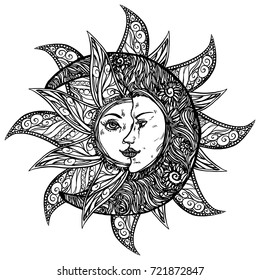 Realistic detailed hand drawn illustration of crescent moon and sun together. Graphic engraving style art, alchemy spiritual theme. Textile, clothes, fabric, paper print.