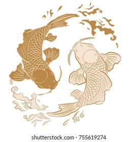 Realistic detailed hand drawn illustration of two koi carps swimming on background of water waves. Colorful graphic tattoo style image symbolizing yin yang concept. T-shirt print.