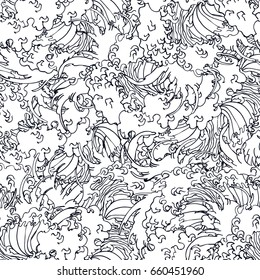 Realistic detailed hand drawn seamless pattern with water waves. Contour outline monochrome drawing. Can be used as textile or paper print.
